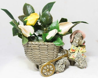 Spaghetti Poodle Figurine - Kitsch 50s Dog & Flower Filled Basket Cart - Pastel Pink Gray Yellow - Spring - Shell Flowers - So Cute! 2042071