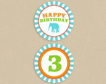 "Printable Cupcake Topper 2.5"" Circus Theme Birthday Party Invitation - Colorful Circus Poster"