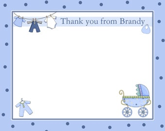20 Personalized Baby Shower Thank You Cards  BABY CLOTHES LINE