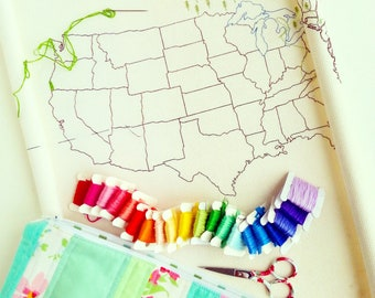 Stitching the States - large us map embroidery or cross stitch pattern (includes Alaska & Hawaii)