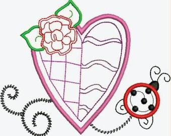 Machine Embroidery Applique Heart N Ladybug