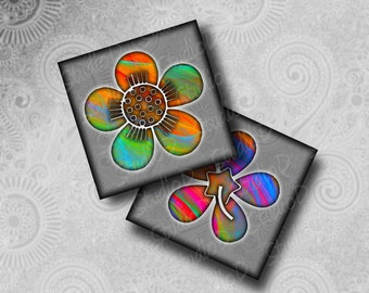 Digital collage sheet flowers, 2 inch square, fridge magnets, fractal art, collage sheet square, flower decoration
