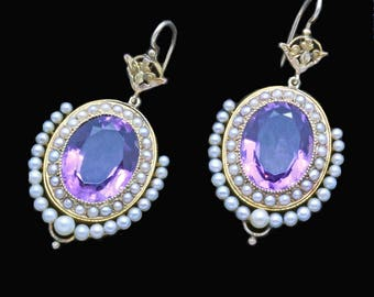 Antique Victorian Earrings 15k Gold Amethysts Pearls c1870-80 English (#6515)