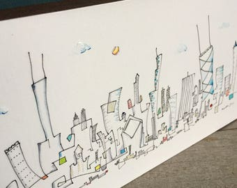 Ready to ship. Line drawing, Chicago skyline, 6x12 inch, whimsical art, mounted on  wood block