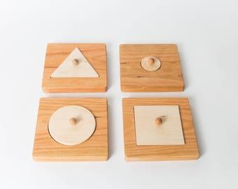 Set of 4 Single Shape Puzzles-Montessori Puzzle Set