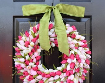 SUMMER WREATH SALE Spring Wreath- Tulip Wreath- Spring Decor- Pretty in Pink- Outdoor Wreath- Spring Wreaths- Pink Tulips