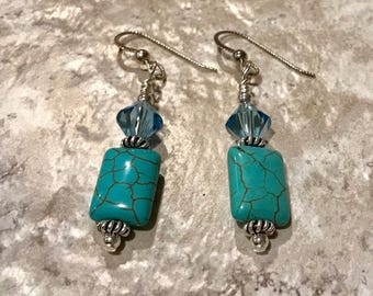 Sterling Silver, Swarovski Crystal, and Blue Magnesite Earrings - FREE SHIPPING