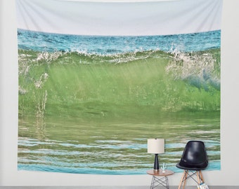 Big Wave Tapestry, Nautical Tapestry, Coastal Large Wall Decor,Surf Photo, Dorm, Office, Aqua Blue Green, Nature Tapestry,Beach Tapestry