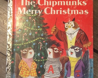 1950s christmas book - Alvin and the chipmunks - Chipmunks Merry Christmas - Richard Scarry - little golden book - vintage christmas book