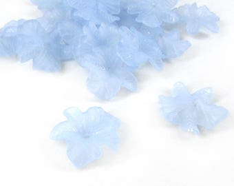 Light Blue Lucite Flower Beads, 23x5, Acrylic Flowers, Bead Caps, Floral Beads, Frosted Acrylic, Frosted Blue Beads