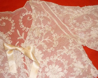 1 Antique  Tambor Net Lace BED JACKET...Handmade...Raised Detail ..Lace Collector...Free Shipping