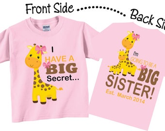 I'm Going To be A Big Sister Shirts and Tshirts Giraffe Tees