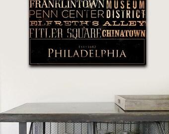 Philadelphia neighborhoods typography graphic art on gallery wrapped canvas by gemini studio