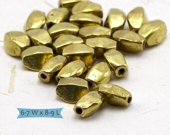 Solid Brass Hammered Facted Oval Beads--10 Pcs | 26-789BR-10