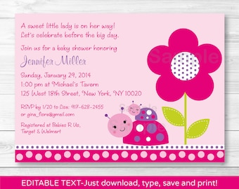 Cute Ladybug Baby Shower Invitation / Ladybug Baby Shower Invite / Pink & Purple / Baby Girl / Printable INSTANT DOWNLOAD Editable PDF A243