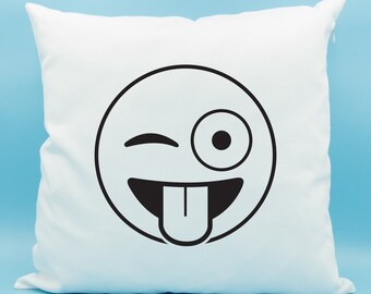 Winking Eye Emoji Pillow - Crazy Face Emoji Pillow - Winking Eye with Stuck Out Tongue Emoji Pillow - Winking Eye Emoji Cushion Cover 16x16