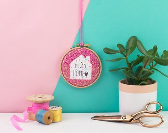 Custom home embroidery hoop  - embroidery hoop art - gift for housewarming - home gift - Embroidery hoop gift - personalised new home gift