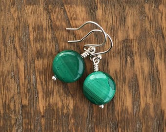 Malachite and Sterling silver earrings, semiprecious bead earrings, Malachite earrings, green earrings, unique girlfriend gift, gift for mum