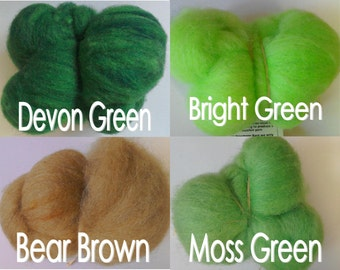 Ethical Texal Carded Wool for felting and spinning Greens 50g