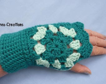 Crocheted mittens green and turquoise granny for woman