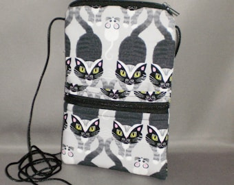 Cat and Mouse Smart Phone Purse - Passport Purse - Sling Bag - Hipster - Wallet on a String