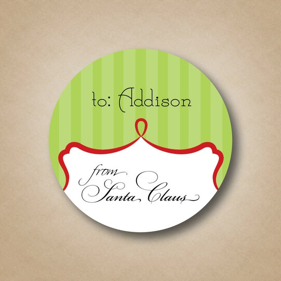 Christmas gift tags from santa gift labels striped green and red santa signature labels kids christmas labels gift stickers personalized