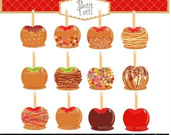 ON SALE Apple Caramel Clip Art / Caramel Apples Clip Art,Candy Apple Clip Art Clipart,Apples Clip Art,Printable, scrapbook,INSTANT Download