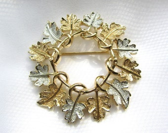 Sarah Coventry Gold and Silver Tone Leaves Brooch