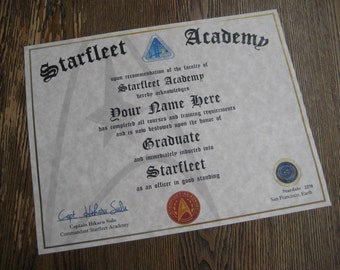 Star Trek - Starfleet Academy Diploma [ T1 ] Add Your Name/Rank/Stardate - comes with free custom photo diplay