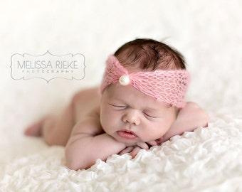 Pink Pearl Turban Mohair Headband Newborn Photography