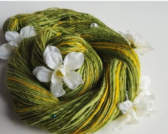 ON SALE Handspun Art Yarn - MEMORY Of Avalon - Sunny Yellow, Apple Green. Beads, Flowers. Morgan Le Fay, King Arthur. Luxury Knitting. 272 y