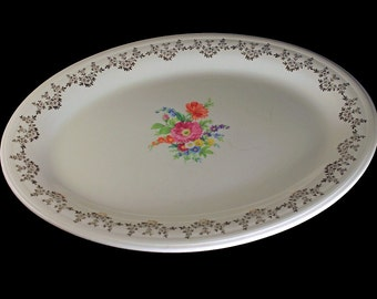 Oval Platter, Edwin Knowles China, 22K Gold Trimmed, Center Floral Pattern, Serving Dish