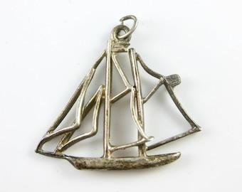 Vintage Sterling Silver Sailboat Charm Pendant