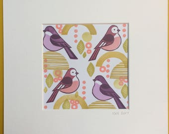 Funky Finches - unique hand stamped art print