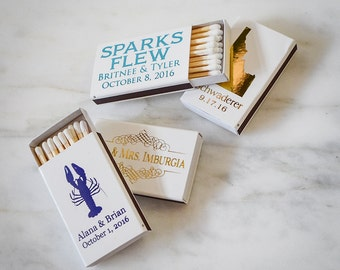 Custom Printed Wedding Matches, Personalized Matchboxes, Personalized Wedding Favors, Custom Matchbooks, Sparks Flew