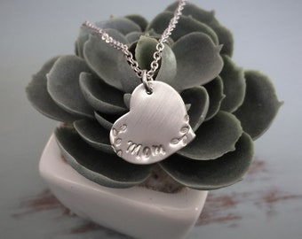 Hand Stamped Swirly Heart Mom Necklace