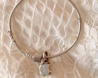 Bangle silver bracelet, charm bracelet, apple charm, handmade bracelet, for her
