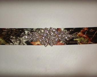 NEW Rhinestone Crystal BLING Camo camouflage satin wedding sash