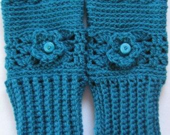 Fingerless Mittens Hand Crochet Gloves in blue with bead and flower embellishment