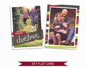 Modern Christmas Card - 5x7 Photo Card - Photoshop Template - INSTANT DOWNLOAD or Printable - CC10