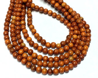 4mm Rust Brown Wood Beads - Wooden Beads - 14.5 inch Full strand - Round Wood Beads