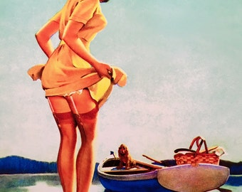 Large 12x18 SLIP Off SHORE by ELVGREN  Pin-Up and Puppy, Lingerie Nylons Stockings pinup Up Skirt -Vintage, Deco, Swing Modern Midcentury