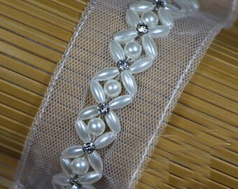 "2 yard 1.5cm 0.59"" wide ivory pearls Rhinestones beads wedding tapes lace trim ribbon 1715 free ship"