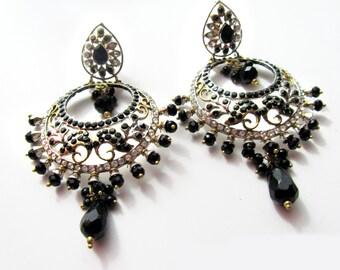 Black Chandelier Earrings,Crystal CHAND BALI ,Chandelier earrings, Jhumkas,Bridal Earrings,Prom Jewelry,Indian Jewellery by Taneesi Jewelry