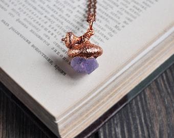 Real acorn cup with raw amethyst, electroformed acorn necklace, copper electroform, unique acorn pendant, electroforming, mountain jewelry