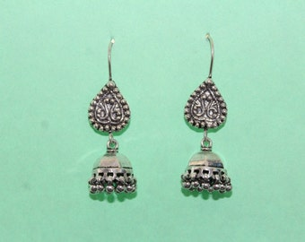 925 Sterling Silver Traditional Jhumka Earrings Tribal Oxidised Earrings