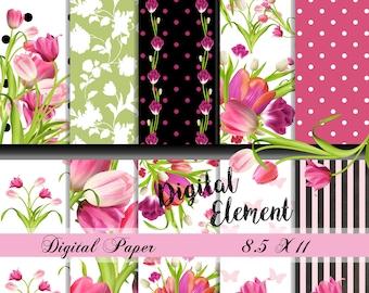Tulip Digital Paper, Tulip Scrapbook Paper, Spring Digital Paper, Pink Tulip Background Paper, Pink Spring Printable Paper. No. P174