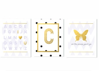 Nursery Art Set - Nursery Art Print - Nursery Art Decor -  Gold Art Print - Kids Nursery Art - Kids Wall Decor - White And Gold Nursery