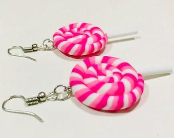 Lollipop Candy Earrings, Rainbow Lollipop, Candy Earrings/Pink+white