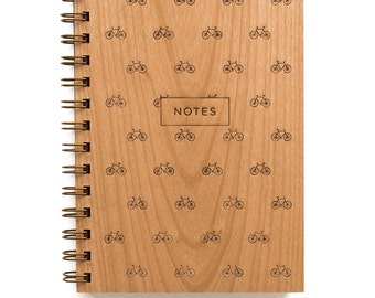Bikes Notes - Lasercut Wood Lined Journal